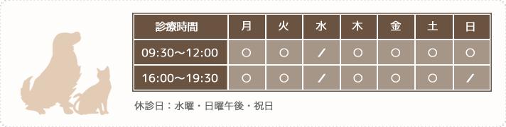 【診療時間】月火木金土09:00~12:00